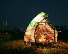 Bottle Seedling House turns bamboo and plastic bottles into shelter for Vietnamese farmers Plastic Bottle House, Plastic Bottles, Bamboo Architecture, Sustainable Architecture, Architecture Design, Bamboo Structure, Tiny House Cabin, Tiny Houses, Unusual Houses