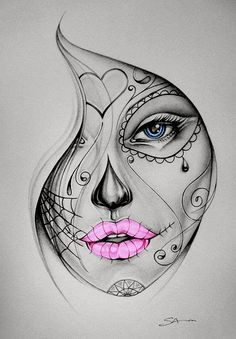 candy skull girl tattoo- colour