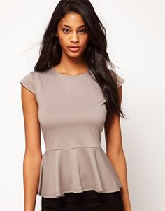 Enlarge ASOS Top With Peplum In Ponti