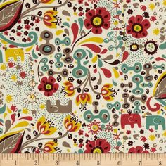 Birch Organic Frolic Frolic Girl Multi from @fabricdotcom  Designed by Rebekah Ginda for Birch Organic Fabrics, this GOTS certified organic cotton print fabric is perfect for quilting, apparel and home décor accents. Colors include white, red, yellow, taupe, brown and teal.