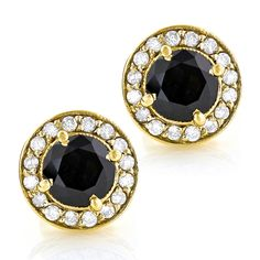 Designer 14K White Black Diamond Stud Earrings 1.92ct