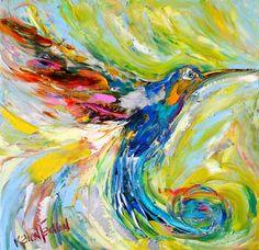 Original oil painting #Hummingbird Dance Abstract by Karensfineart
