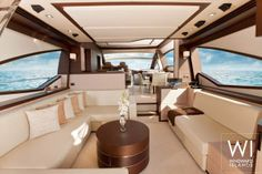 Saloon with a panoramic view on the #luxury #yacht Anema Core available for #charter this summer in #Brazil.