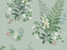 Gentle in spirit, beautiful forest flowers spread across a sage background in this dreamy design. Complete with distressed accents and faded hues, this wallpaper has a vintage style. Foxglove is an unpasted, non-woven blend wallpaper. Plant Wallpaper, Botanical Wallpaper, Wallpaper Roll, Sage Green Wallpaper, Striped Wallpaper, Brewster Wallpaper, Wallpaper Warehouse, Forest Flowers, Wild Flowers