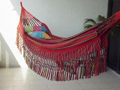 """Patio hammocks - Pin it! :) Follow us :))  zPatioFurniture.com is your Patio Furniture Gallery ;) CLICK IMAGE TWICE for Pricing and Info :) SEE A LARGER SELECTION of  patio hammocks at http://zpatiofurniture.com/category/patio-furniture-categories/hammocks/ - home, patio, home decor - Colombian """"Cartagena"""" Fabric Hammocks – Borders Only – Red « zPatioFurniture.com"""