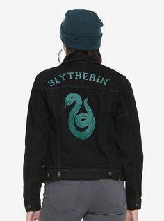 Harry Potter Slytherin Girls Denim Jacket, BLACK
