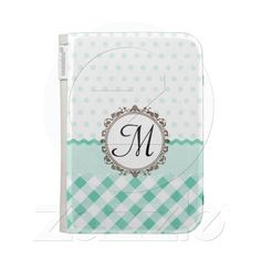 Mint Polkadots, Check and Stripes with Monogram caseable cases