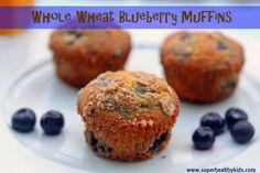 Whole Wheat Blueberry Muffins - packed full of blueberries and flavor!  Makes 24 muffins - freeze half for a quick breakfast or snack later!