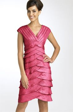 Adrianna Papell Shutter Pleat Satin Dress available at Elegant Dresses, Formal Dresses, Wedding Dresses, Tiered Dress, Nordstrom Dresses, Dress Codes, Mother Of The Bride, Ruffles, Wrap Dress