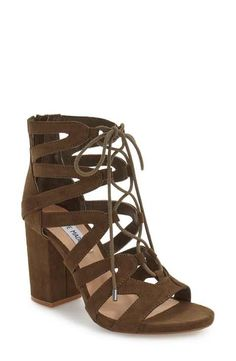 Steve Madden 'Gal' Strappy Lace-Up Sandal (Women) - Sinuous arched straps connect with ghillie-style lacing up the front of this daring sandal held aloft by a chunky wrapped heel. Lace Up Sandals, Shoes Sandals, Chunky Lace Up Heels, Women Sandals, Cute Shoes, Me Too Shoes, Penelope, New Shoes, Baskets