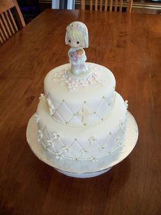 https://flic.kr/p/4GVedf | Communion Cake | Finished Cake with topper.  Both tiers are chocolate cake with vanilla buttercream filling and crumbcoat.  Quilted embossing with gold bead accents.  Crosses are brushed with gold lustre dust.  Vanilla butttercream pearl border