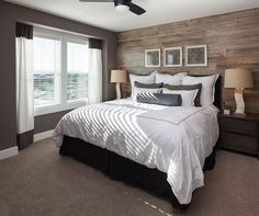 Contemporary Master Bedroom with Ceiling fan, High ceiling, L6656 Dockside Laminate Flooring, Carpet