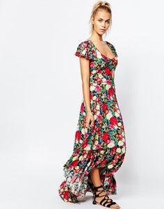 Wildfox – Flower Delivery – Maxi-Wickelkleid mit Rüschendesign