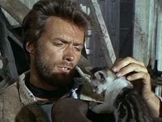 Clint Eastwood with kitten