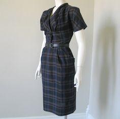 Vintage 1950s Brown Purple Black Plaid Dress by by LessThanPerfect