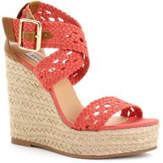 Steve Madden Women's Shoes, Magestee Wedge Sandals ($45) ❤ liked on Polyvore featuring shoes, sandals, wedges, heels, coral, strap heel sandals, summer wedge sandals, heeled sandals, wedge espadrilles and wedge heel sandals