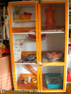 Site for great homemade ferret or other small animal habitats. Rat, gerbil, hamster, chinchilla diy cage, home, enclosure.