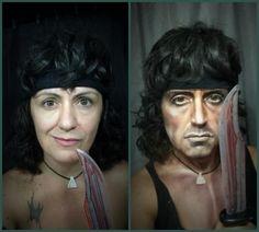 Le incredibili trasformazioni di Lucia Pittalis, da Rambo a Iggy Pop solo col makeup (FOTO)