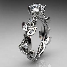 white gold leaf weddingdiamond ring | ... whitegold diamond leaf and vine wedding ring,engagement ring ADLR59