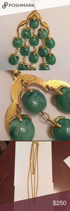 Trifari Costume Jewelry Trifari Italian Vintage costume jewelry. In great condition. Adds a little something to every outfit. It's a rare piece w/ Jade beads. Feel free to ask any questions. Trifari Accessories