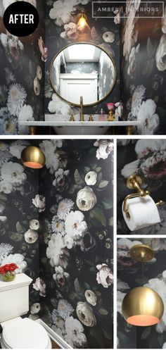 Awesome wallpaper, big and bold. Love this 'powder room' makeover. Project: Cupcakes