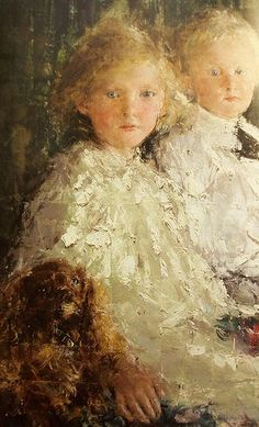 Antonio Mancini (Italian, 1852-1930) - Portrait of Elizabeth & Charles Williamson with their Pet Dog