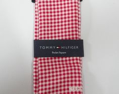 Tommy Hilfiger Printed Gingham Pocket Square 100% Silk ~ NEW