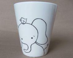 Jirafa taza de porcelana blanca pintada a mano