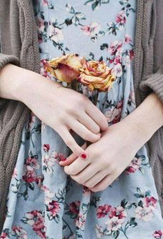 Vintage Floral Dress and loose dun colored cardigan