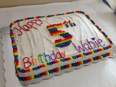 Rainbow party rainbow birthday cake.