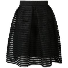 Choies Black Sheer Stripe Knee Length Skater Skirt featuring polyvore, fashion, clothing, skirts, bottoms, saias, faldas, black, knee high skirts, black skirt, knee length skirts, sheer skirt and circle skirt