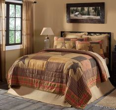 Stratton Bedding Collection by VHC Brands. Part of the designer line by Ashton & Willow for VHC Brands, Stratton features Stars Appliqued over Khaki and neutral plaid fabrics. Coordinates beautifully with burlap natural bedding and Stratton window collection .