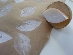 white leaves    making potato print gift wrap