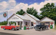 Hopper General Store by Bruce Kaiser, Sinclair Gas, 18 x 12 Art on Wood OR Metal, Classic Cars Hot Rods, vintage garage wall decor LS351-MGL by HomeDecorGarageArt on Etsy