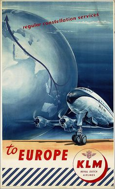 KLM - To Europe from Australia and Asia, Constellation Service - vintage travel poster Deco Aviation, Aviation Art, Vintage Advertisements, Vintage Ads, Royal Dutch, Retro, Airplane Art, Vintage Airplanes, Poster Ads