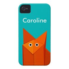 Customizable cute iPhone case with an illustration of a funny and cute origami fox looking at you wondering why you are looking at it. Whatever happens, cute little foxy is always happy. $42.95 #iphone #iphone4 #iphone4case #iphonecases