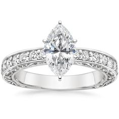 18K White Gold Antique Scroll Diamond Ring (1/3 ct. tw.) from Brilliant Earth