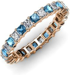 Your Personal Ejeweler..Sophisticated and mordenistic, this eternity band will give you an updated look with a classic design.This illuminating band features a perfect line of sparkling princess-cut Blue Topaz and Diamond in durable prong settings. This Princess Prong Set Eternity band is going to be her jewel of delight. #Trijewels #Ejeweler #Eternity #Diamond #Sapphire #EternityRing #WeddingBand #EternityBand #Ring #WomenRing #Gift #Wedding #Engagement #Womenjewelry #AnniversaryRing…