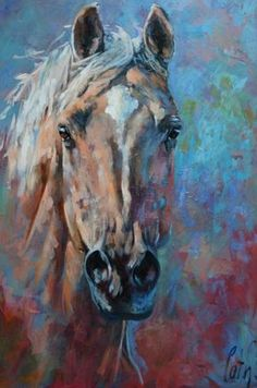 """Catharina Driessen's powerful paintings of horses in motion starts out as small sketches and studies, transforming into colorful, unique andimpressionistic views of the horse. """"I like …"""
