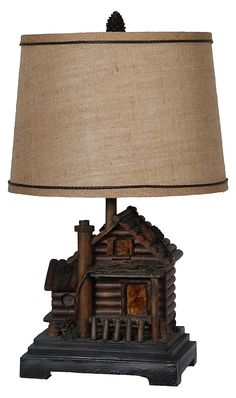 Flickering Campfire Night Light Lamp With Bear Figure