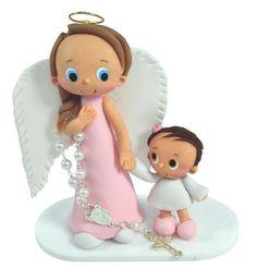 Souvenir para bautizo con miniatura ángel guardián-El 248 - Algodón cordero - Lembrancinhas