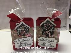 Hey everyone! Today I am going to show you how to make an adorable Christmas treat box using the Candy Cane Lane designer series paper from Stampin Up. It is so easy to make that you will want to m… Christmas Craft Show, Christmas Treat Bags, Christmas Paper Crafts, Stampin Up Christmas, Christmas Tag, Christmas Projects, Christmas Ideas, Handmade Christmas, Xmas Cards