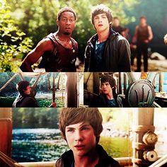Percy Jackson and the Olympians. The book was also made into a movie. The top picture is of Grover who is a friend of Percy's and a satyr(half goat half human) the test of of Percy and Poseiden's cabain at camp half-blood the Greek demigod camp