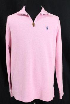 Polo Ralph Lauren Men's Large Half-Zip Sweater Hampton Pink Pullover French-Rib #PoloRalphLauren #12Zip