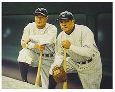 """Gehrig & Ruth"" Original Painting   by Arthur K. Miller on masonite 26"" x 32"""