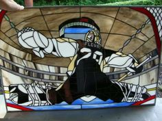 Full credit to Ashley Miller, who says it took her a month to complete this amazing piece of Marc-Andre Fleury-based stained glass art. Hockey Goalie, Hockey Teams, Sports Teams, Pittsburgh Sports, Pittsburgh Penguins Hockey, Stained Glass Flowers, Stained Glass Art, Stained Glass Projects, Stained Glass Patterns