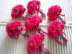 Fuschia Flower Arrangements | HOT PINK ROSES WRAPPED IN BLACK AND WHITE DAMASK by modagefloral
