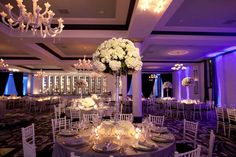 Beautiful Blooms Tall White Centerpiece in Pavé of White Flowers at Vie Philadelphia