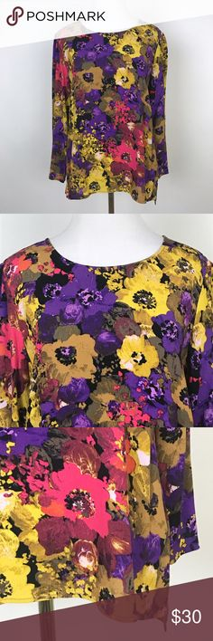 """[Madewell] Printmaker Top Floral Print Blouse Chic Crew neck 3/4 sleeve Blouse. Bold Floral print. By Broadway & Broom from Madewell.  🔹Pit to Pit: 18"""" 🔹Length: 24"""" 🔹Condition: Excellent pre-owned condition.  *P21 Madewell Tops Blouses"""