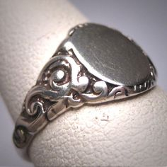 Antique Silver Signet Ring Vintage Victorian by AawsombleiJewelry